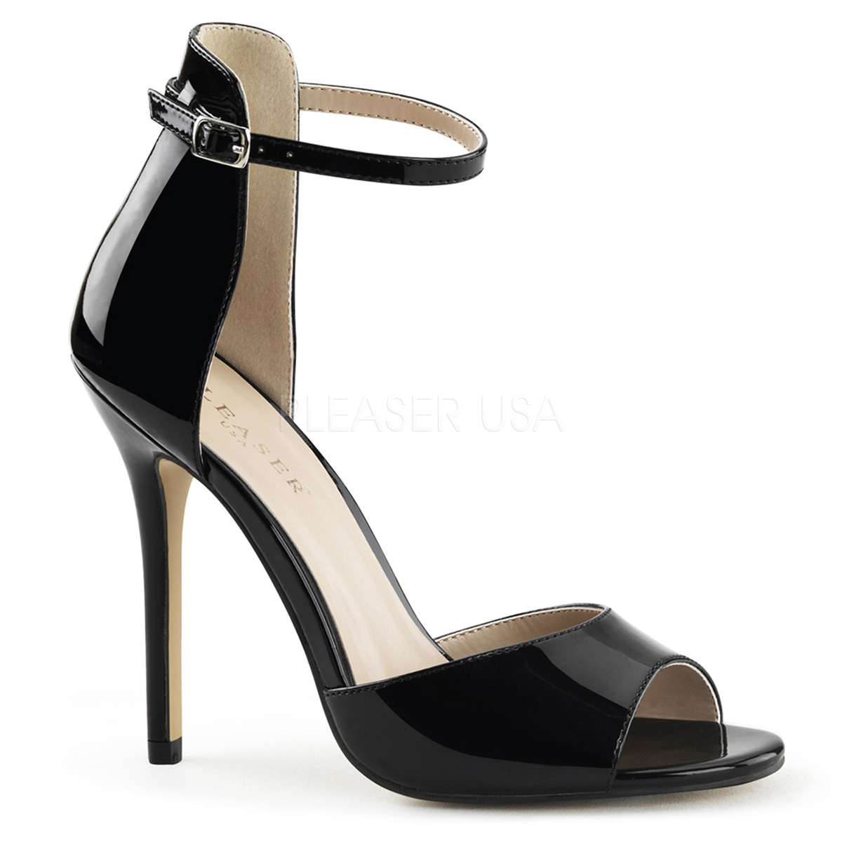 5 Inch Stiletto Heel Closed Back Ankle Strap Sandal