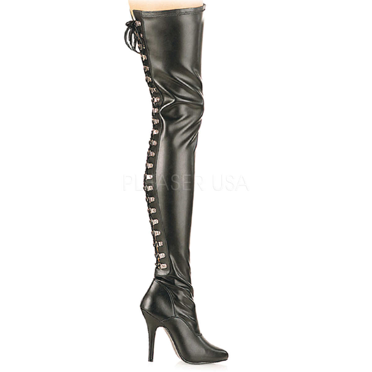 5 Inch Stiletto Heel D-Ring Rear-Lace Stretch Thigh High Boots