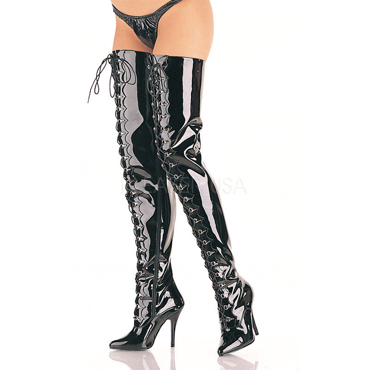 5 Inch Stiletto Heel D-Ring Lace-Up Crotch High Boots